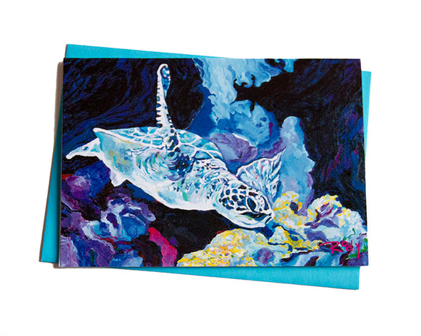 Sea Turtle in Flight Note Card