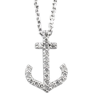 14K White 1/8 Diamond Carats Anchor Necklace
