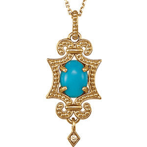 14K Yellow Turquoise Ocean Drop & .015 Diamond Carats 18-inch Necklace