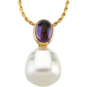 14K White South Sea Cultured Pearl & Amethyst Pendant