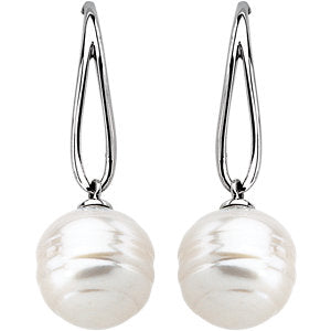 14K White South Sea Cultured Pearl Earrings