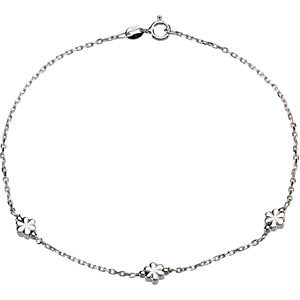 Sterling Silver 3mm Flower 10-inch Anklet