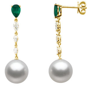 South Sea Cultured Pearl, Genuine Emerald & Diamond Earrings