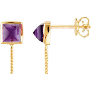 14K Yellow Amethyst & South Sea Cultured Pearl Earrings
