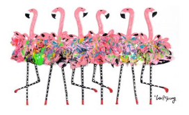 Flamingo Chorus Line Tea Towel