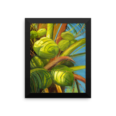 Green Coconuts Framed Print