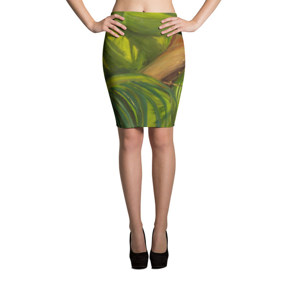Green Coconuts Pencil Skirt