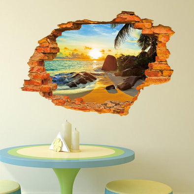 Beach Sunset 3D Wall Sticker