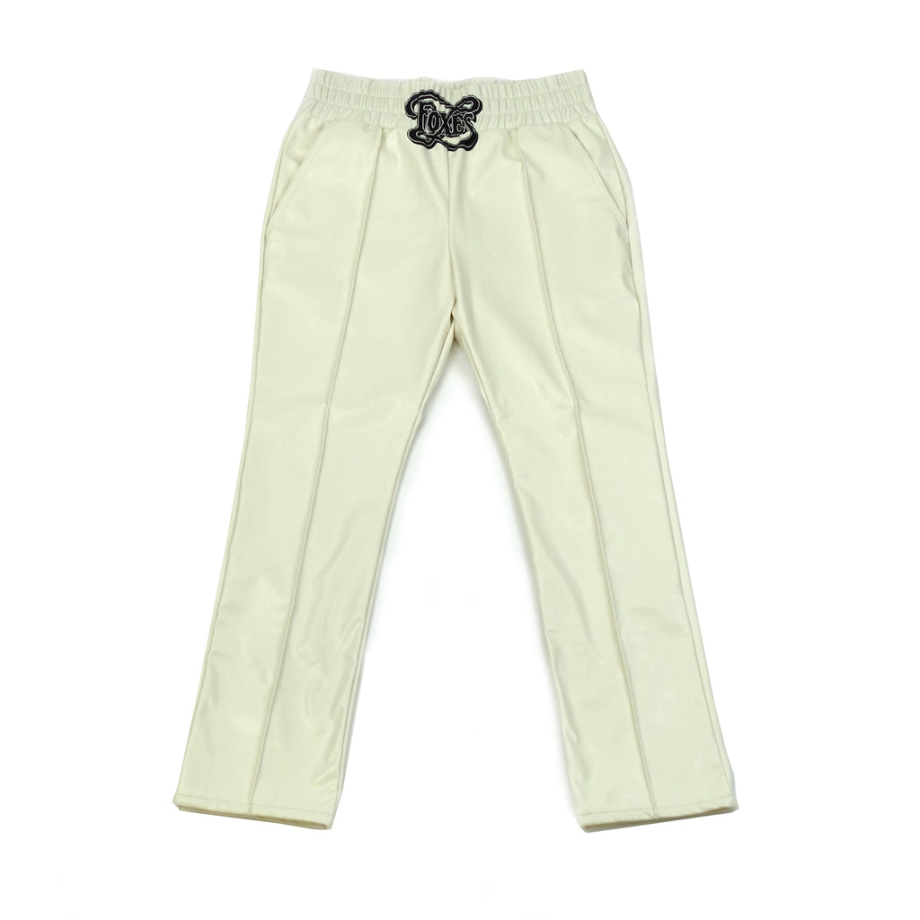 White Printed Faux Leather Elastic Trouser