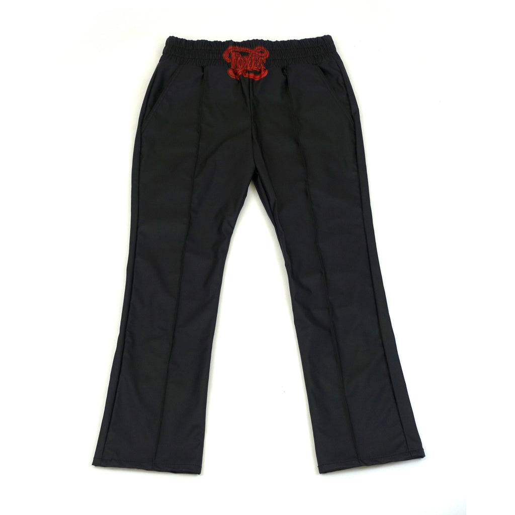 Black Printed Faux Leather Elastic Trouser