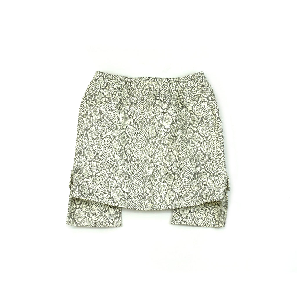 Women's White Faux Leather Snakeskin Cargo Skirt