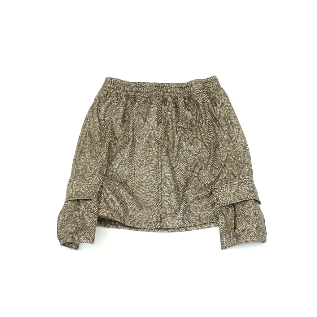 Women's Brown Faux Leather Snakeskin Cargo Skirt