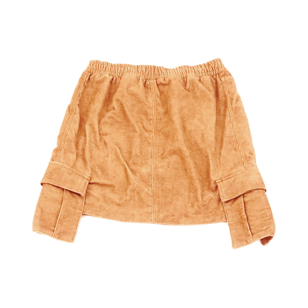 Women's Tan Corduroy Cargo Skirt