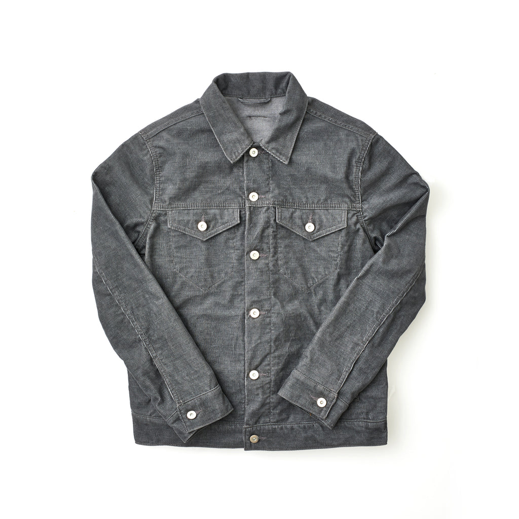 Grey Corduroy Perforated Cross Trucker Jacket