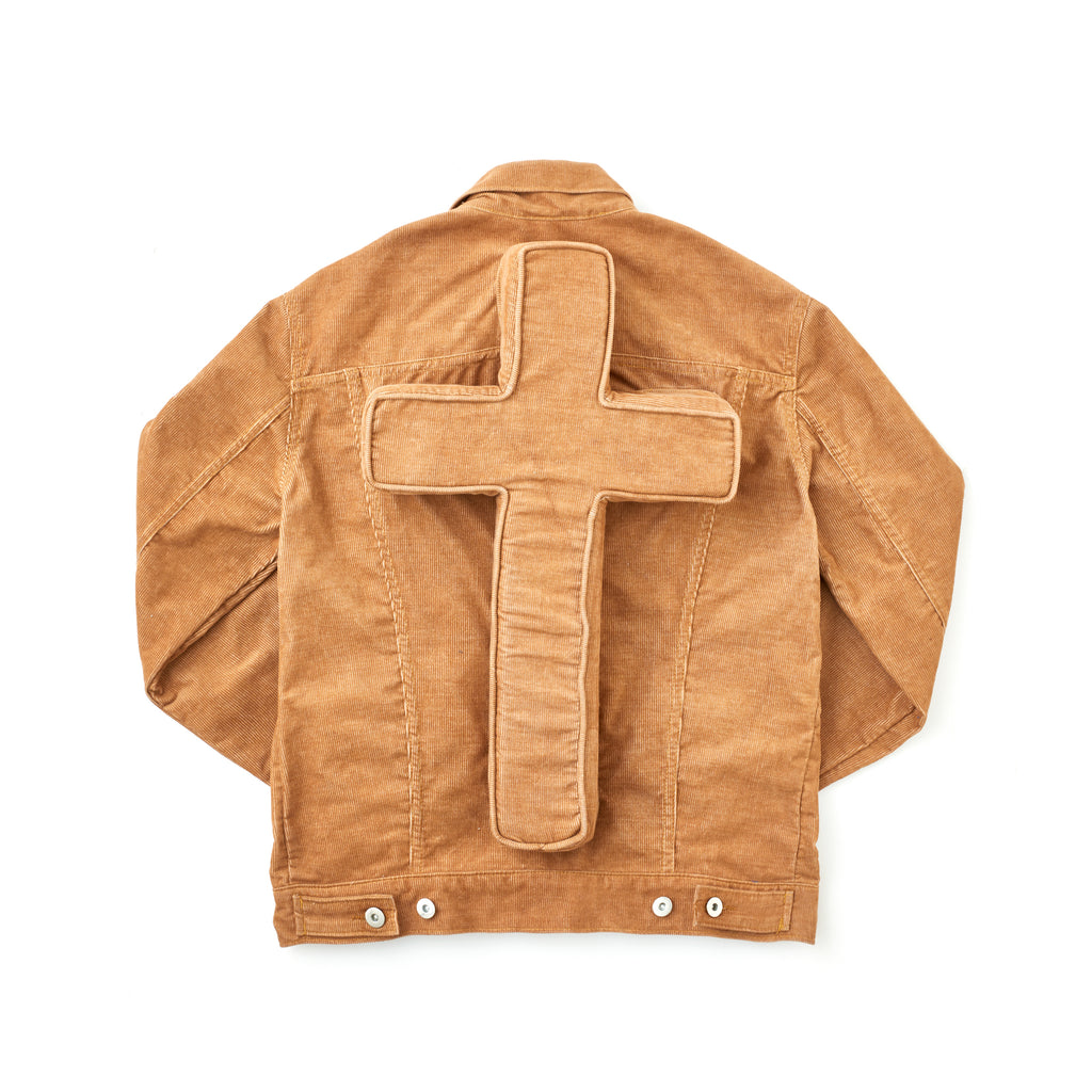 Tan Corduroy Perforated Cross Trucker Jacket