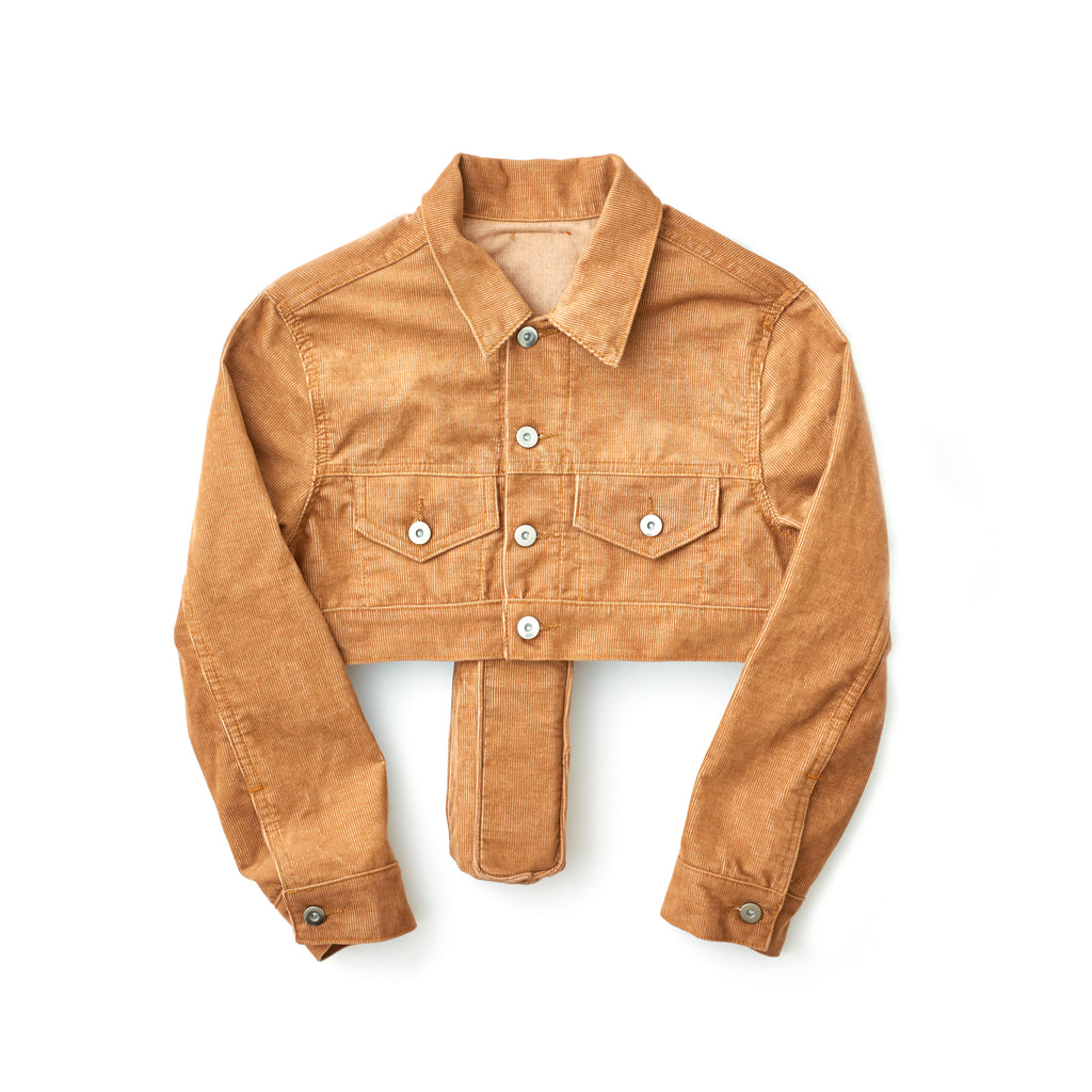 Tan Women's Cropped Corduroy Perforated Cross Trucker Jacket