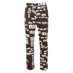 Brown Bumper Sticker All-Over Print Denim Jean