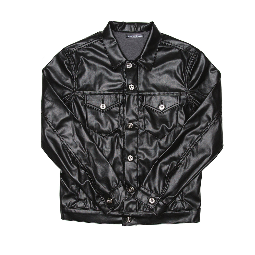 Black Faux Leather Perforated Cross Trucker Jacket