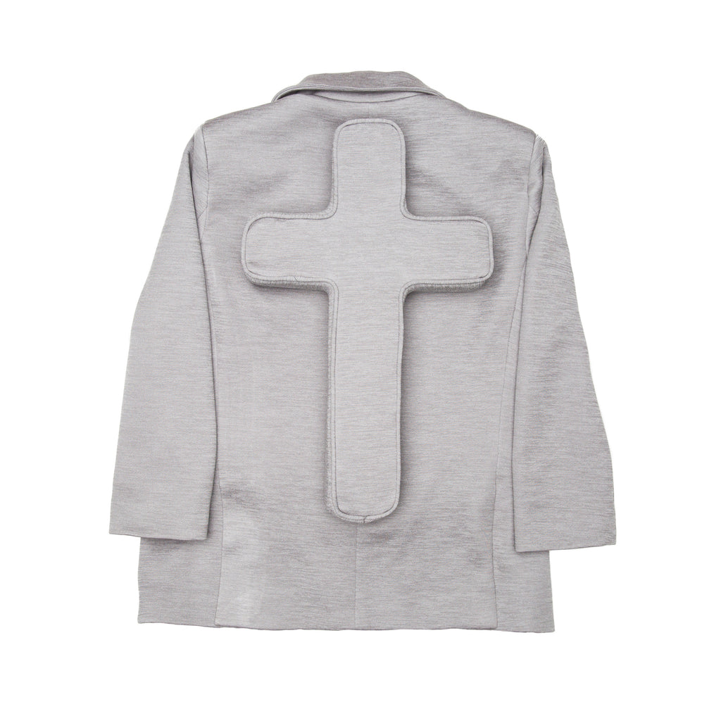 Grey Neoprene Perforated Cross Blazer