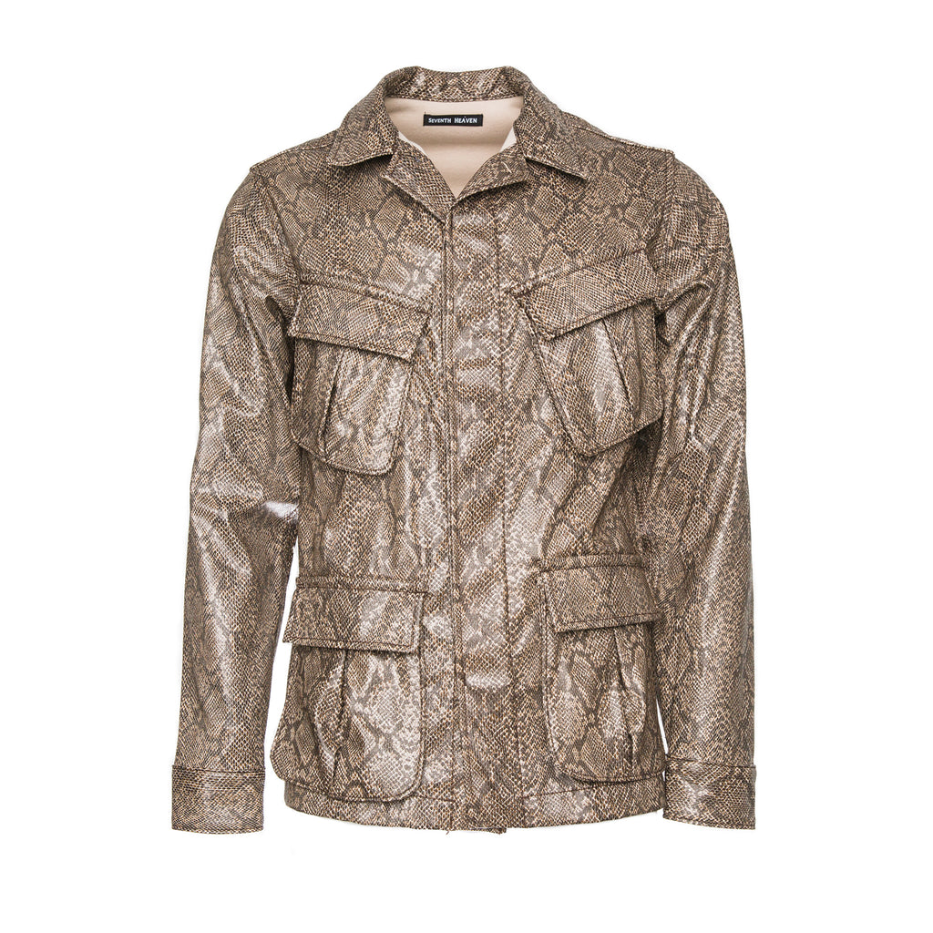 Brown Faux Leather Snakeskin Perforated Cross Cargo Jacket