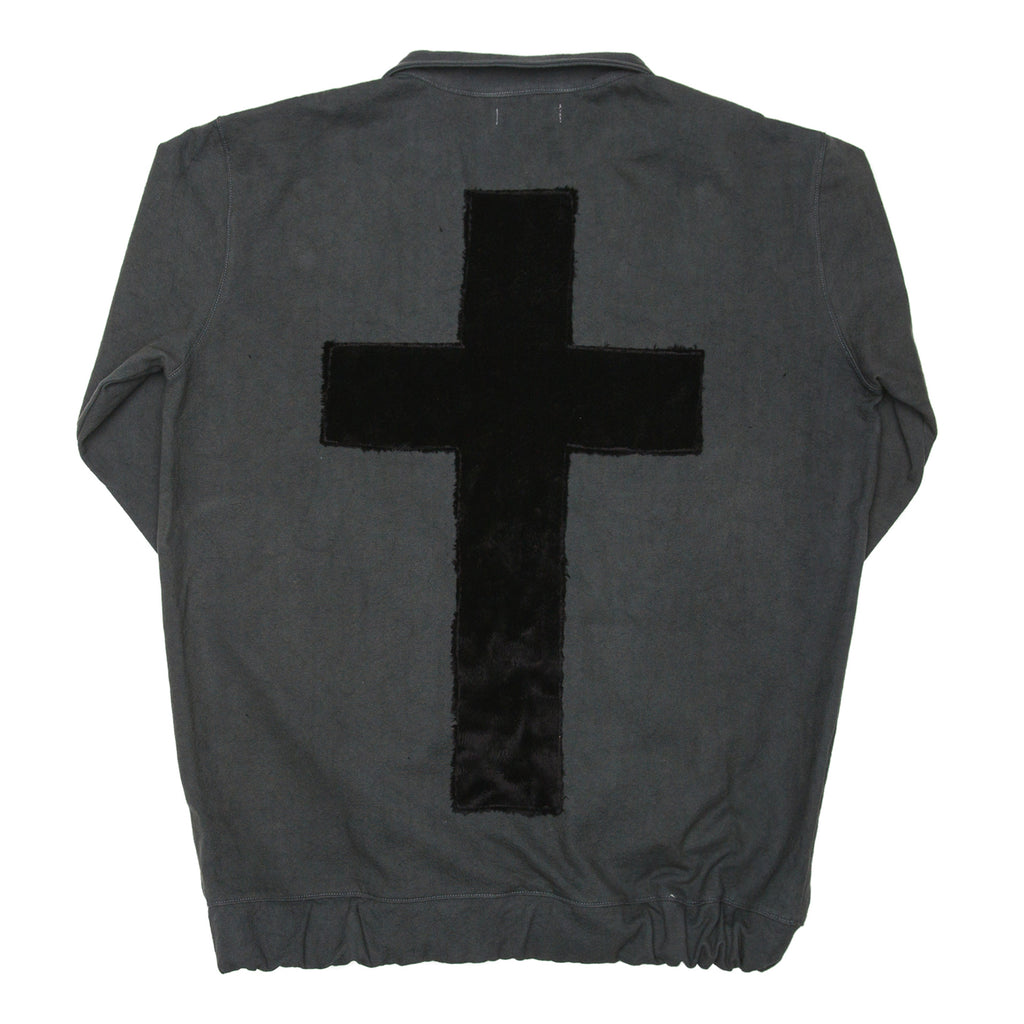 Black Laser Cut Cross Pullover Track Jacket