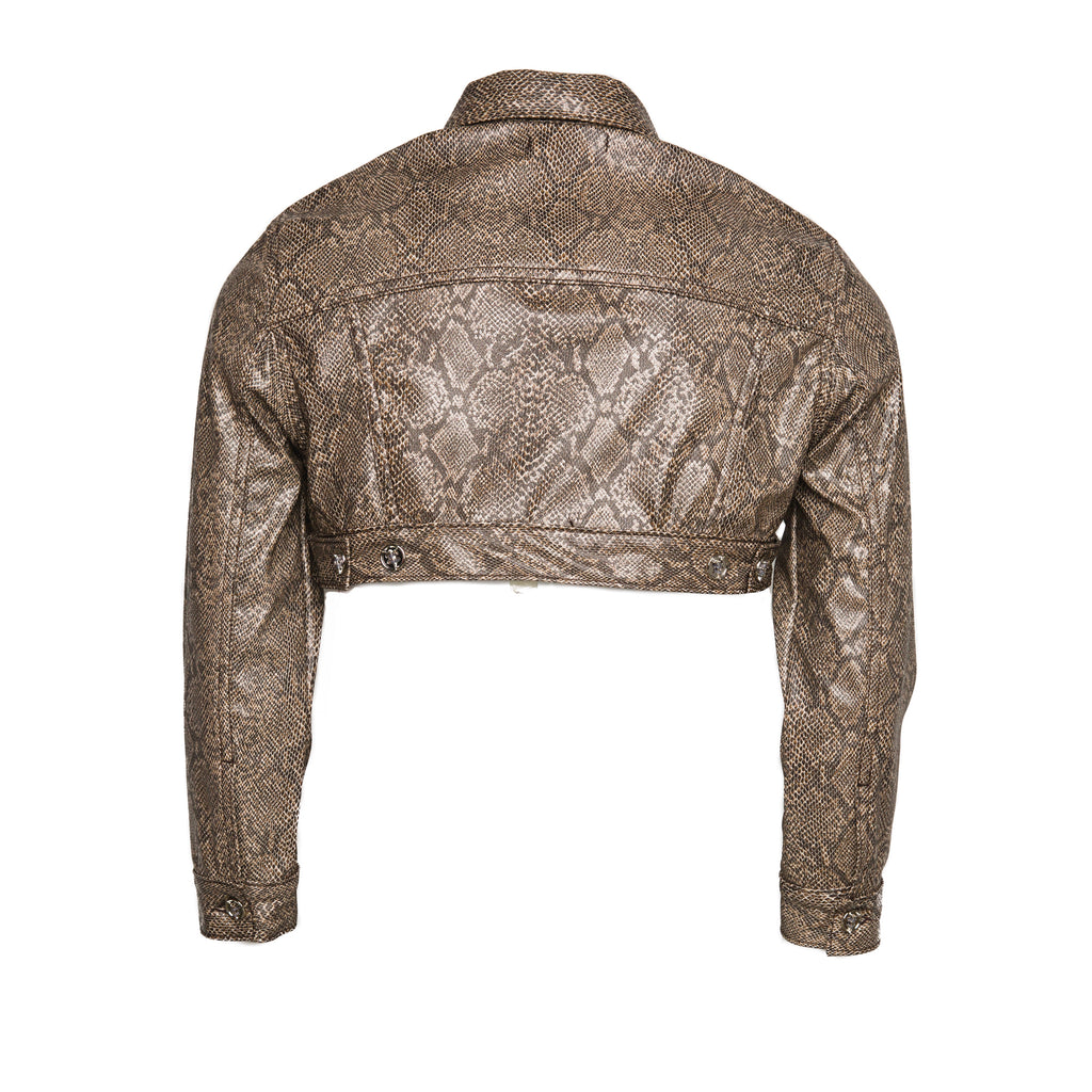 Brown Women's Faux Leather Snakeskin Cropped Cargo Jacket