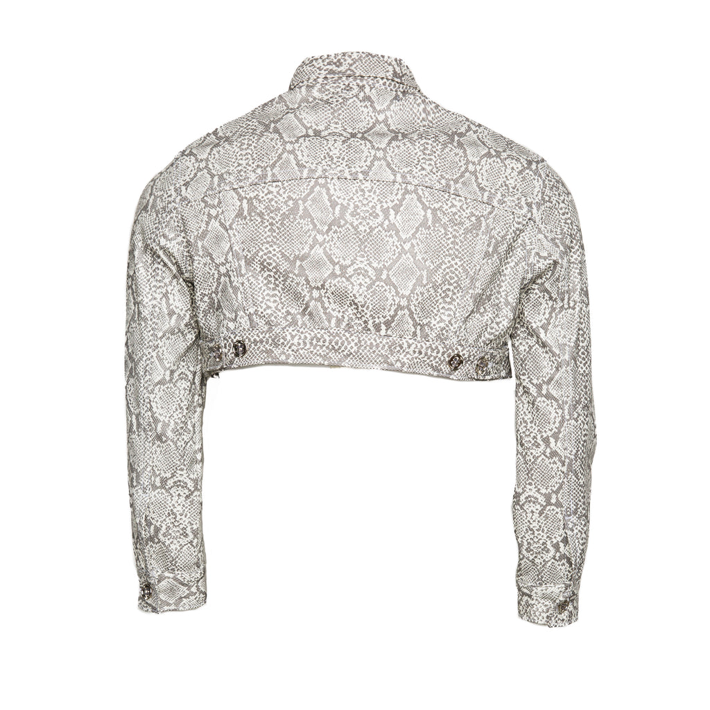 White Women's Faux Leather Snakeskin Cropped Cargo Jacket