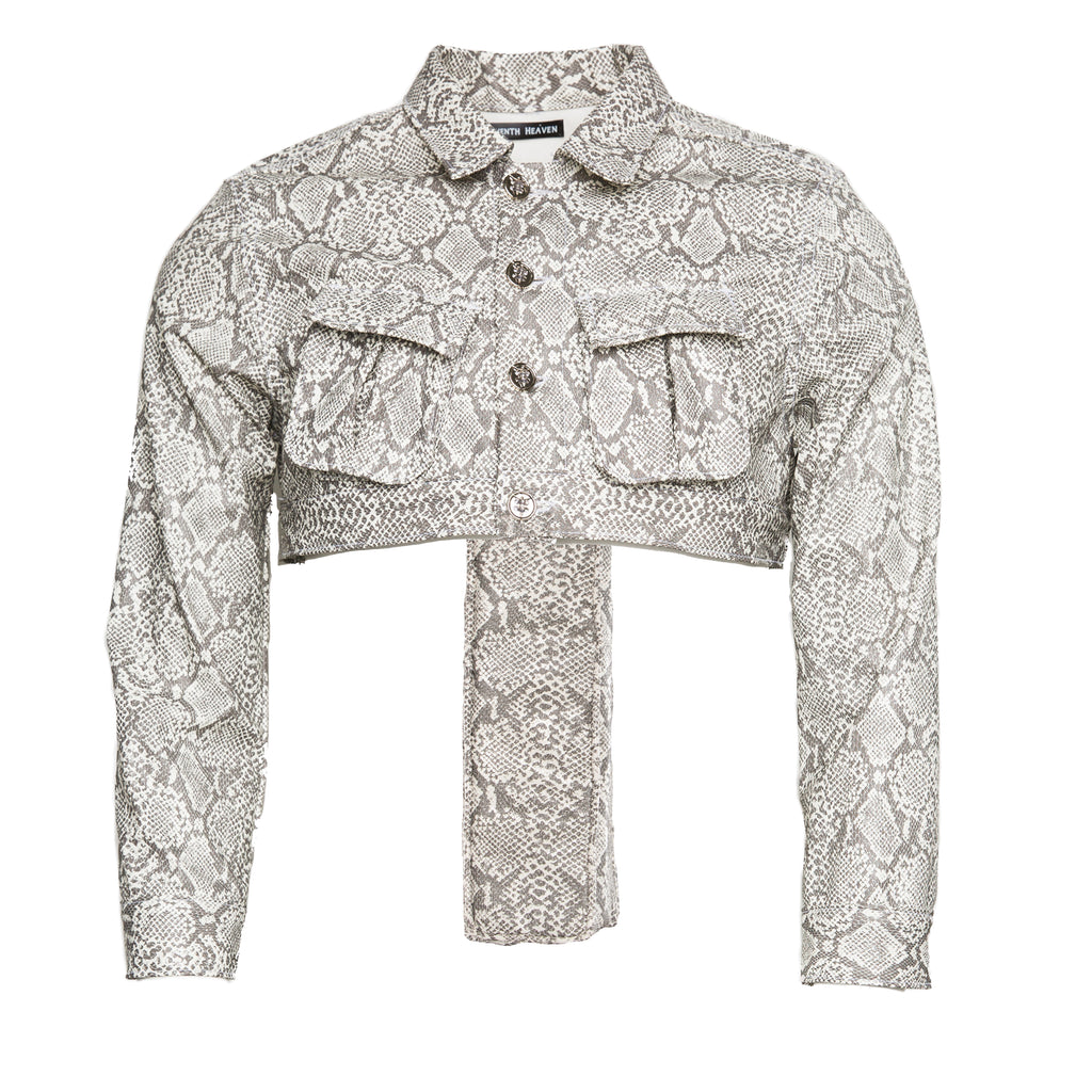 White Women's Faux Leather Snakeskin Perforated Cross Cropped Cargo Jacket