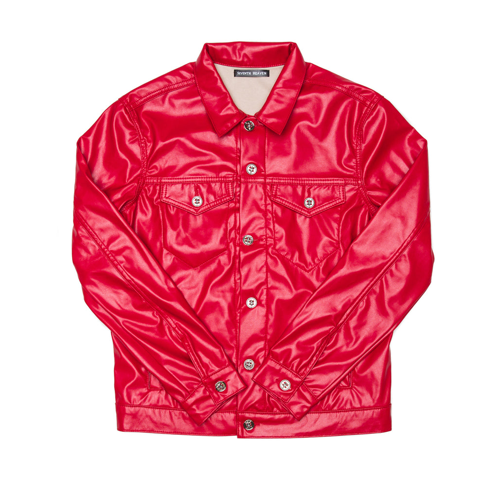 Red Faux Leather Perforated Cross Trucker Jacket