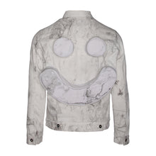 Load image into Gallery viewer, Marble-Dye Denim Trucker Jacket w/ Perforated Smiley Face