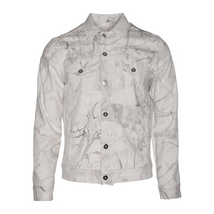 Marble-Dye Denim Trucker Jacket w/ Perforated Smiley Face