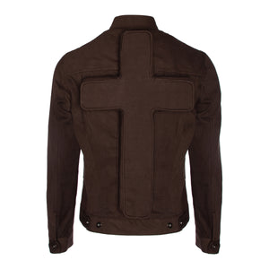Brown Denim Trucker Jacket w/ Spacer Mesh Detailing & Perforated Crucifix