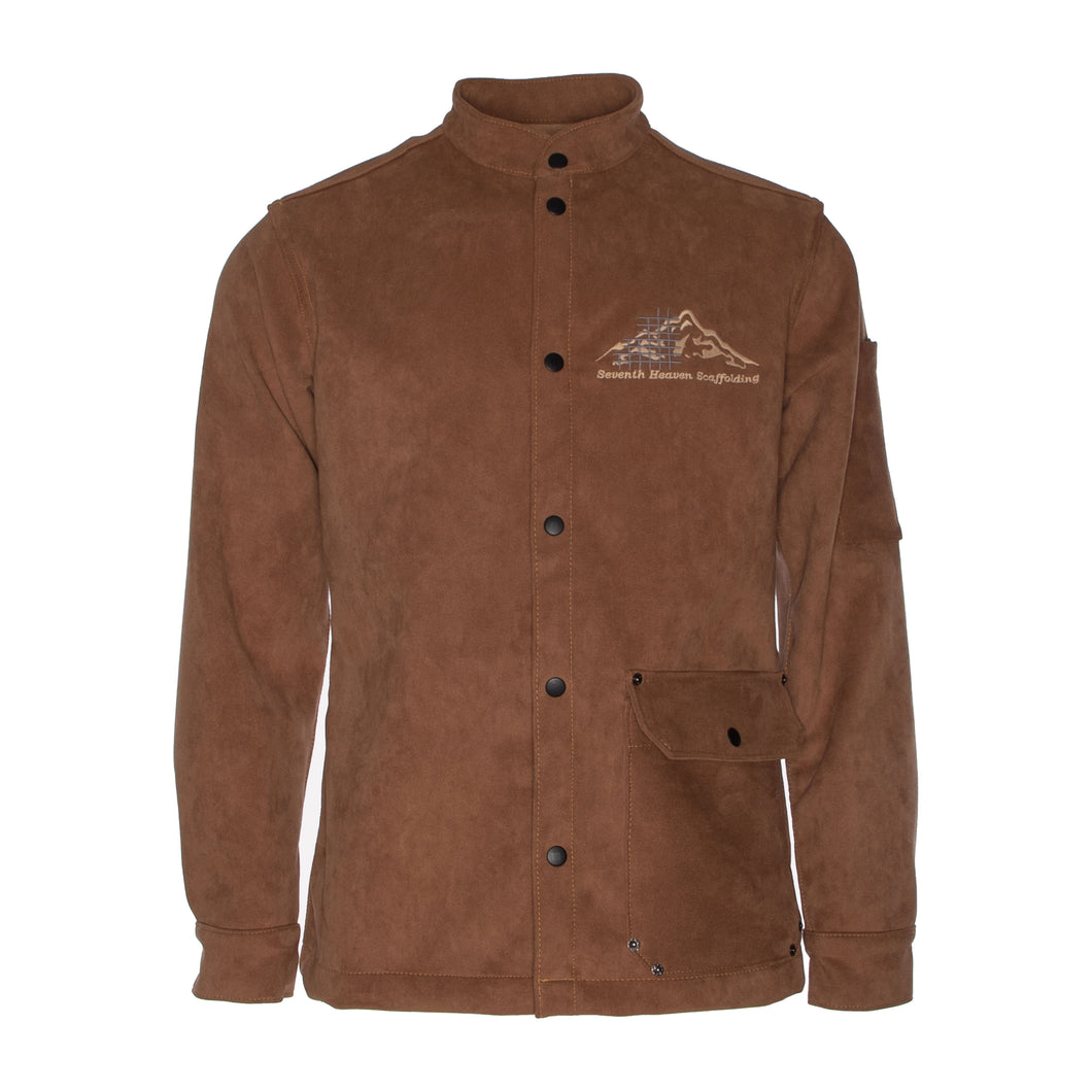 Brown Embroidered Suede Scaffolding Jacket