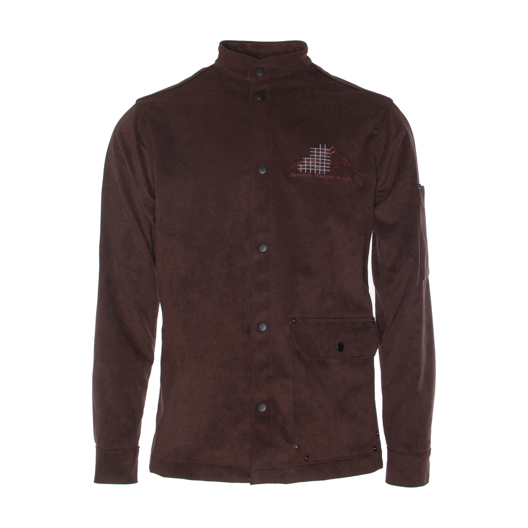 Teakwood Embroidered Suede Scaffolding Jacket