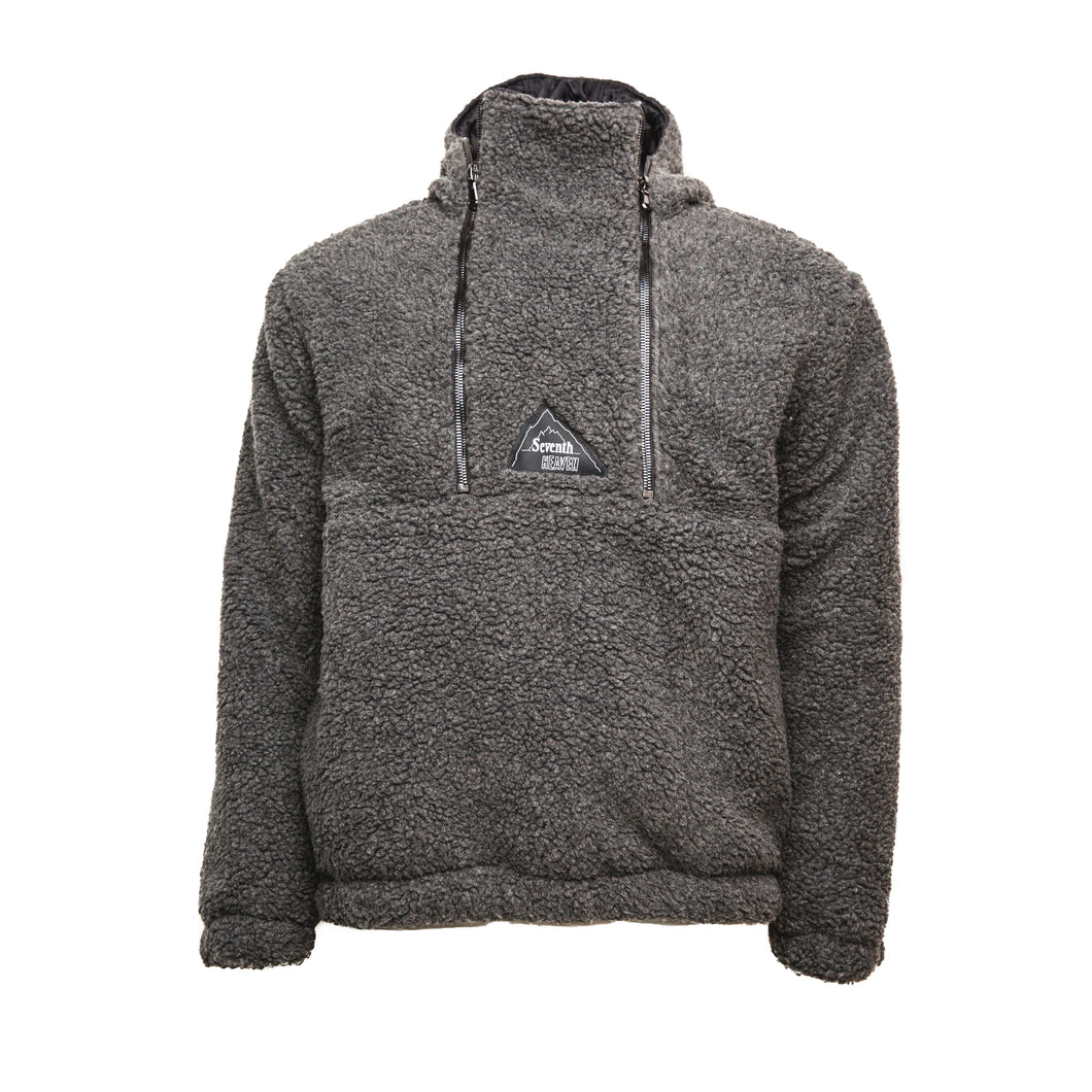 Black Sherpa Double Quarter-Zip Pullover