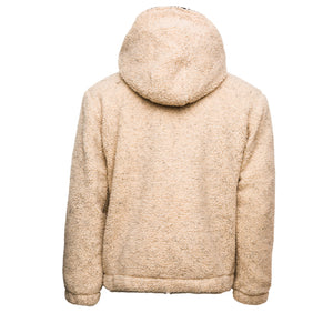 Tan Sherpa Double Quarter-Zip Pullover