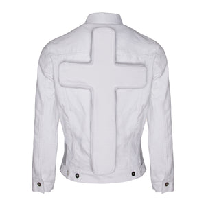 White Denim Trucker Jacket w/ Spacer Mesh Detailing & Perforated Crucifix