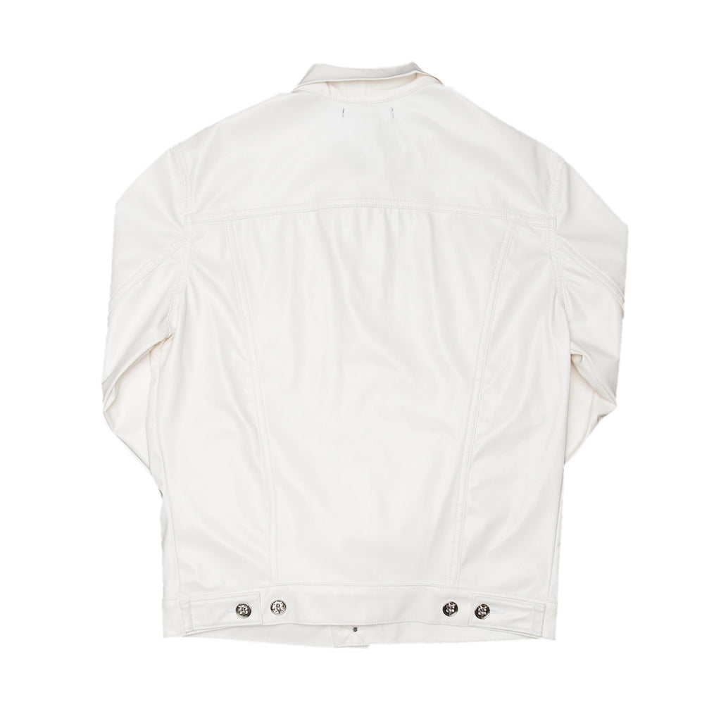 White Faux Leather Trucker Jacket