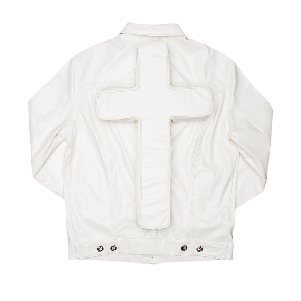 White Faux Leather Perforated Cross Trucker Jacket