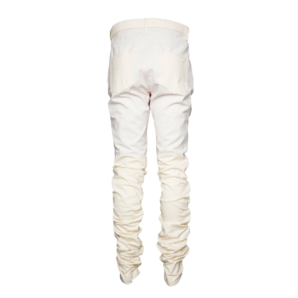White Laser Cut Two-Tone Elastic Pant