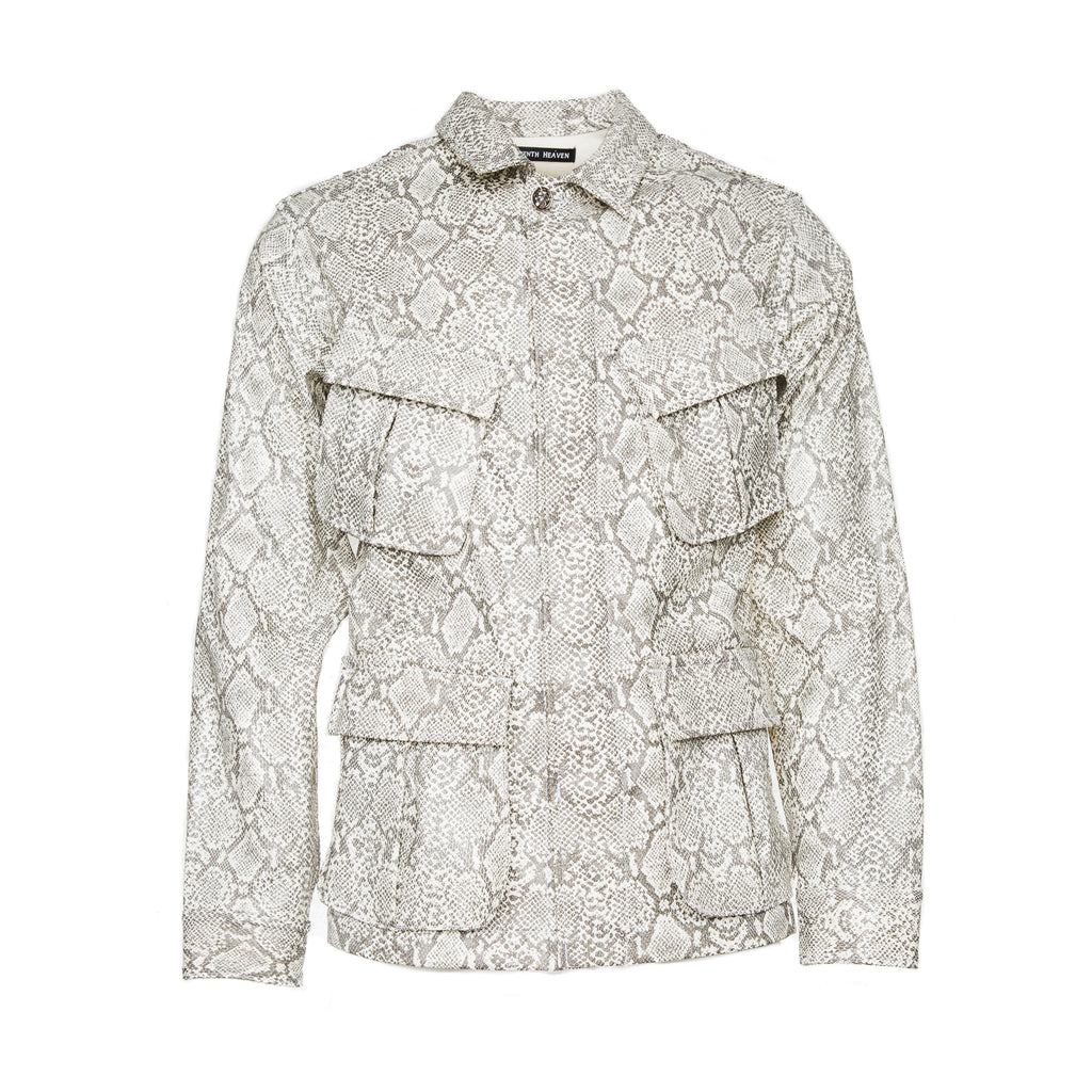 White Faux Leather Snakeskin Perforated Cross Cargo Jacket