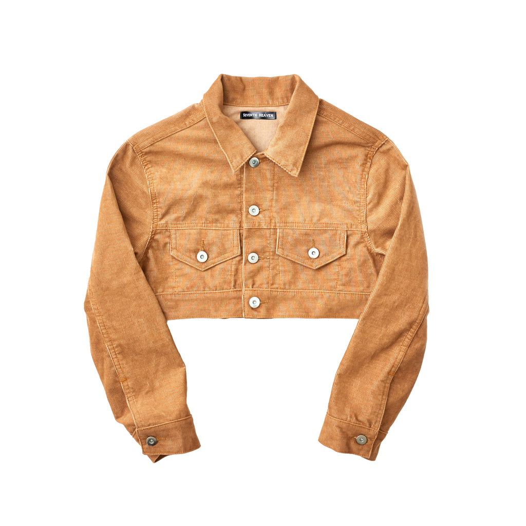 Tan Women's Cropped Corduroy Trucker Jacket