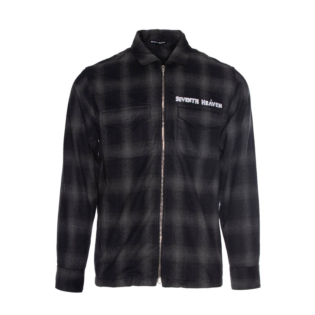 Black Chain Stitched Flannel Zip-Up Shirt