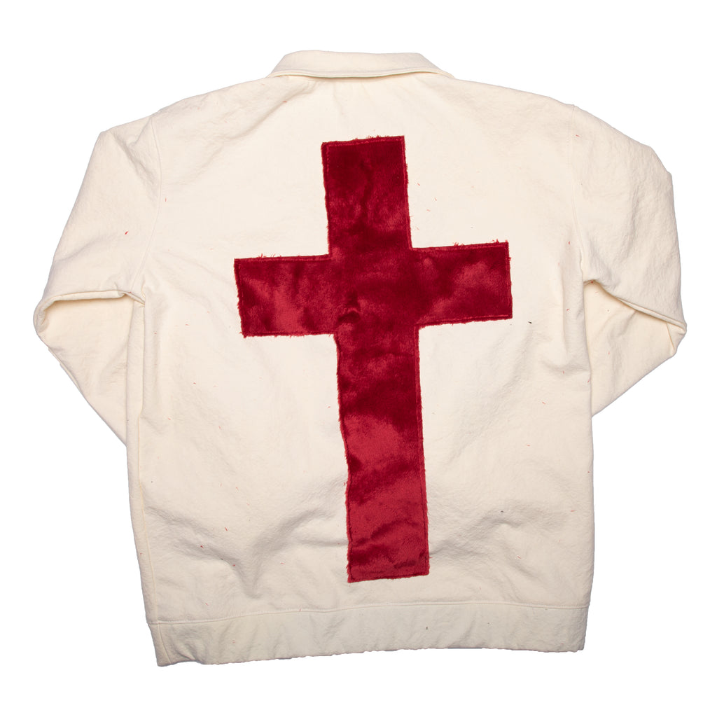 White Laser Cut Cross Pullover Track Jacket