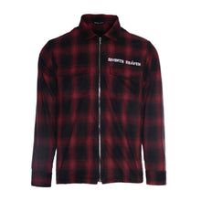 Load image into Gallery viewer, Red Chain-Stitched Flannel Zip-Up Shirt