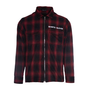 Red Chain-Stitched Flannel Zip-Up Shirt