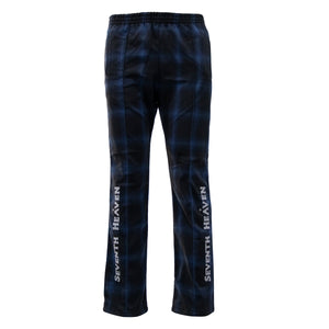 Blue Chain-Stitched Flannel Trouser
