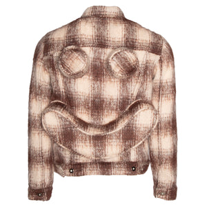 Brown Chain-Stitched Knit Trucker Jacket w/ Perforated Smiley Face