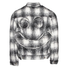 Load image into Gallery viewer, White Stitched Knit Trucker Jacket w/ Perforated Smiley Face