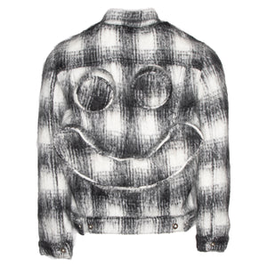 White Stitched Knit Trucker Jacket w/ Perforated Smiley Face